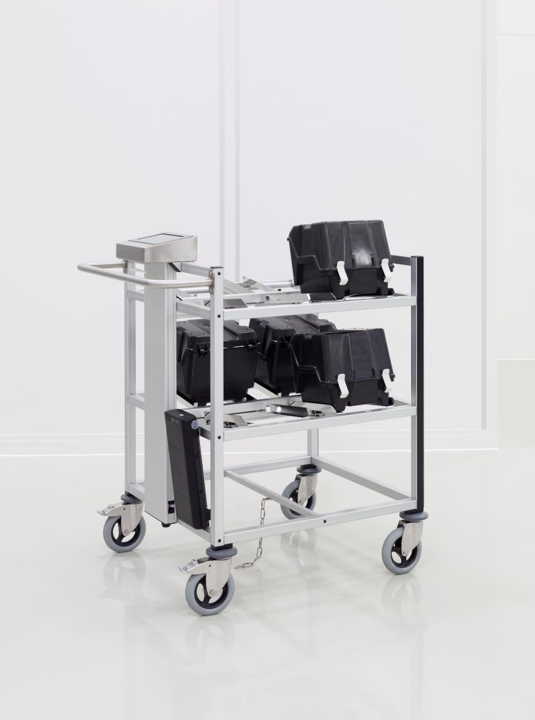 RFID Trolley with wafer carrier boxes.