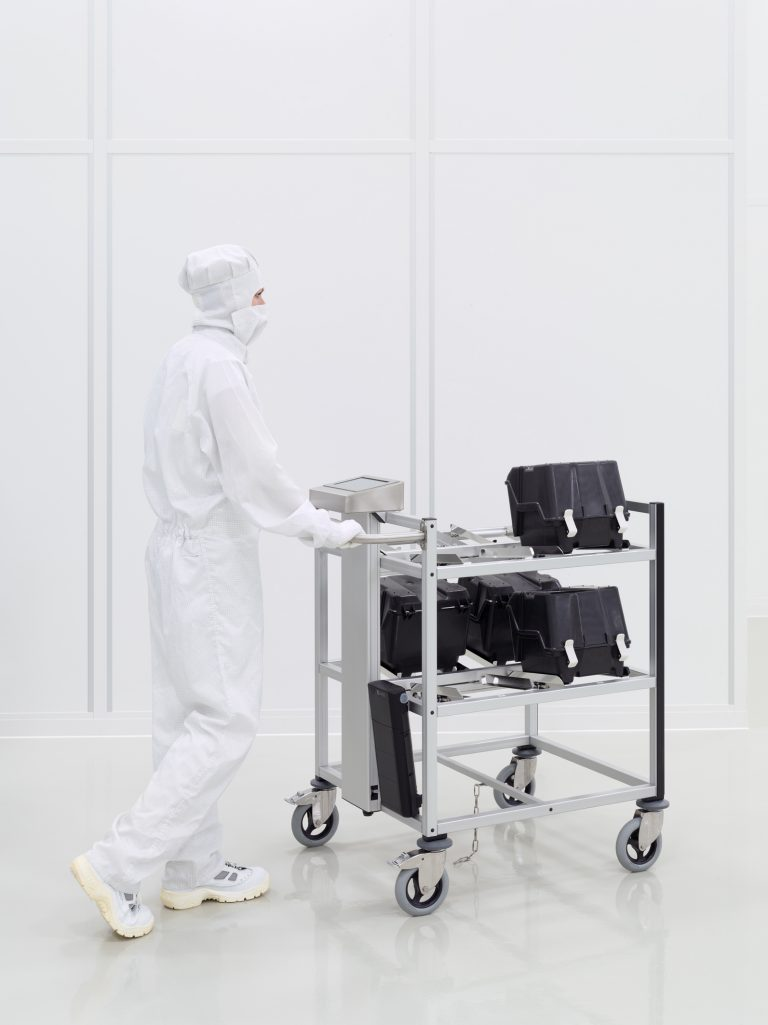 RFID trolley for manual transport in cleanrooms