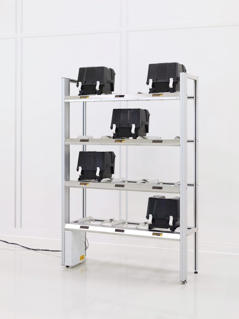 RFID shelf for semiconductor industry to store carrier boxes