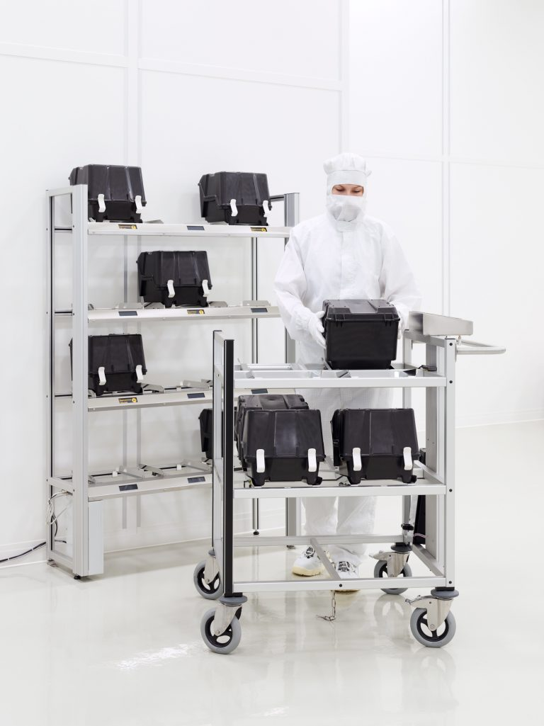RFID trolley for manual transport of wafer carriers; Automated RFID shelf for automated storage of wafer carriers in cleanroom