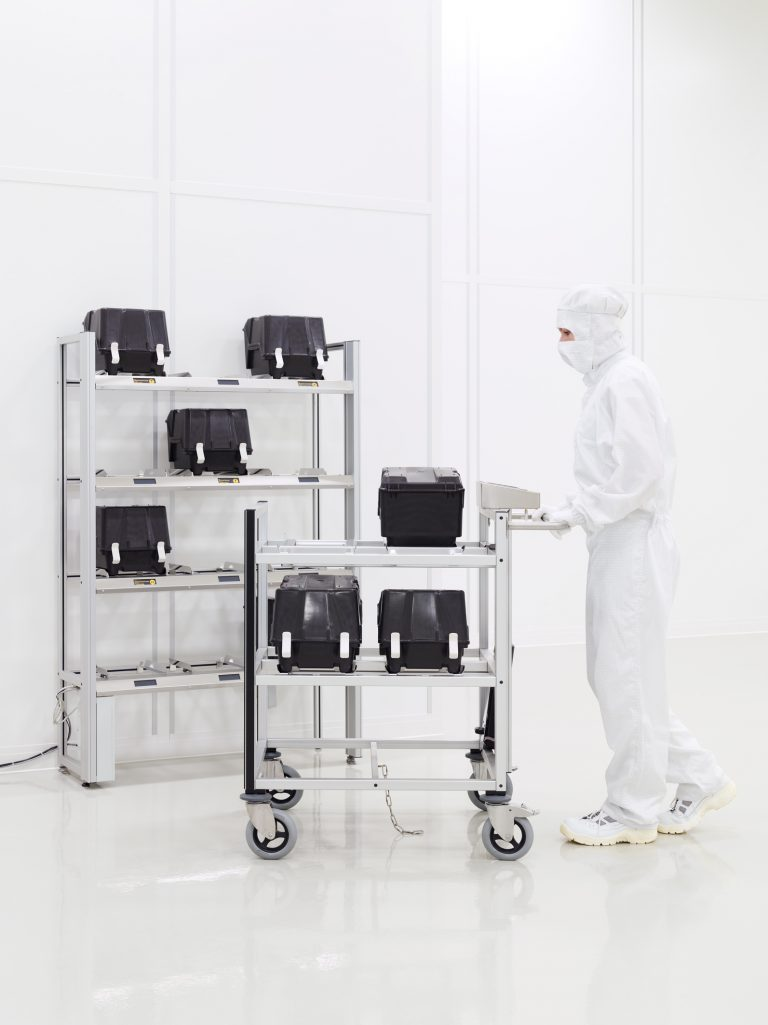 Person guided cleanroom transport vehicle; Automated RFID rack to store Wafer Carriers