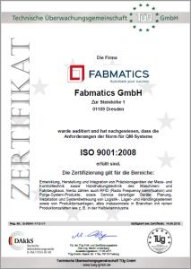 Zertifikat Fabmatics ISO9001