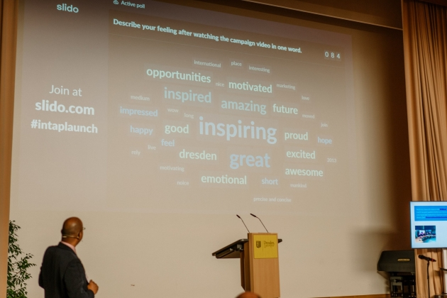 WordCloud that shows what feelings (esp. inspiring, great, amazing) the campaign video has triggered in the viewers.