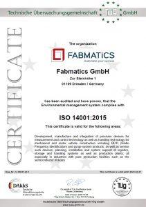 QM CERTIFICATE ISO14001-2015
